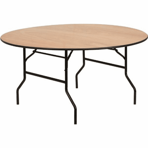 Flash Furniture 72'' Round Wood Folding Banquet Table with Clear Coated Finished Top Model YT-WRFT60-TBL-GG