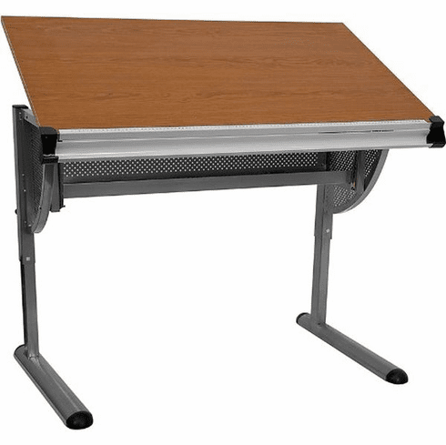 Flash Furniture Adjustable Drawing and Drafting Table with Black Frame and Dual Wheel Casters Model NAN-JN-2433-GG