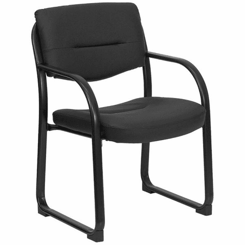 Flash Furniture Black Fabric Comfortable Stackable Steel Side Chair Model BT-510-LEA-BK-GG