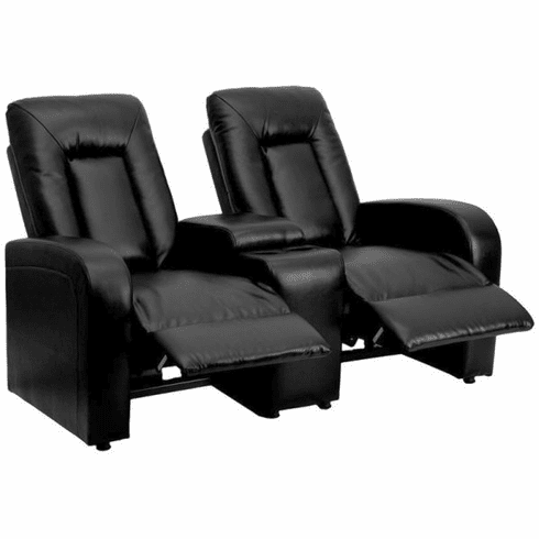 Flash Furniture Black Leather 2-Seat Home Theater Recliner with Storage Console Model BT-70259-2-BK-GG
