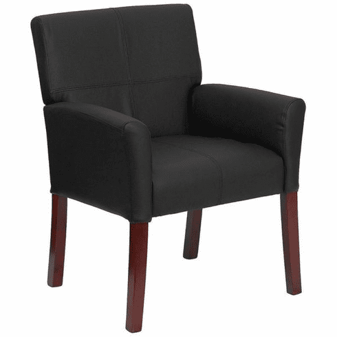 Flash Furniture Black Leather Executive Side Chair or Reception Chair with Mahogany Legs Model BT-353-BK-LEA-GG
