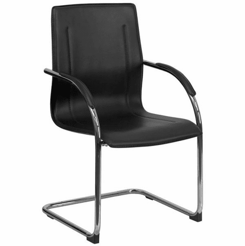 Flash Furniture Black Leather Executive Side Chair with Sled Base, Model BT-509-BK-GG