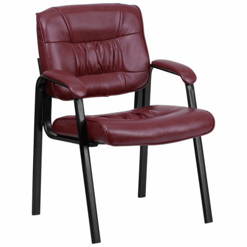 Flash Furniture Black Leather Guest / Reception Chair with Black Frame Finish Model BT-1404-BURG-GG