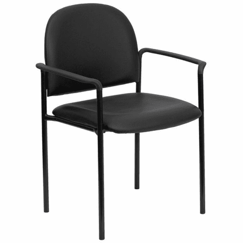 Flash Furniture Black Leather Office Side Chair with Black Mesh Back and Sled Base Model BT-516-1-VINYL-GG