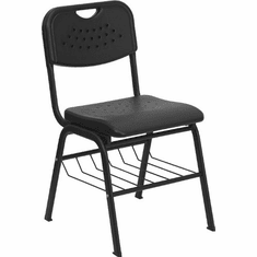 Flash Furniture Black Plastic Chair with Left Handed Tablet Arm and Book Basket Model RUT-GK01-BK-BAS-GG