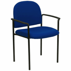 Flash Furniture Black Vinyl Comfortable Stackable Steel Side Chair with Arms Model BT-516-1-NVY-GG