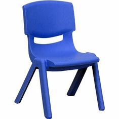Flash Furniture Blue Plastic Stackable School Chair with 10.5'' Seat Height Model YU-YCX-003-BLUE-GG