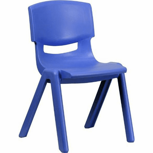 Flash Furniture Blue Plastic Stackable School Chair with 15.5'' Seat Height Model YU-YCX-005-BLUE-GG