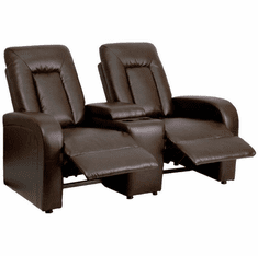 Flash Furniture Brown Leather 2-Seat Home Theater Recliner with Storage Console Model BT-70259-2-BRN-GG