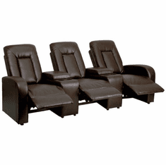 Flash Furniture Brown Leather 3-Seat Home Theater Recliner with Storage Consoles Model BT-70259-3-BRN-GG