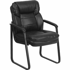 Flash Furniture Brown Microfiber Executive Side Chair with Sled Base Model GO-1156-BK-LEA-GG
