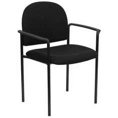 Flash Furniture Burgundy Fabric Comfortable Stackable Steel Side Chair with Arms Model BT-516-1-BK-GG