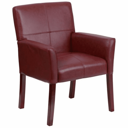 Flash Furniture Burgundy Leather Executive Side Chair or Reception Chair with Mahogany Legs Model BT-353-BURG-GG