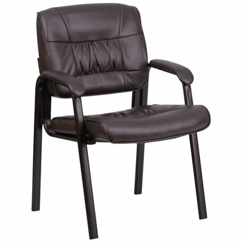 Flash Furniture Burgundy Leather Guest / Reception Chair with Black Frame Finish Model BT-1404-BN-GG