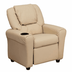 Flash Furniture Contemporary Beige Vinyl Kids Recliner with Cup Holder and Headrest Model DG-ULT-KID-BGE-GG