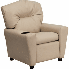 Flash Furniture Contemporary Beige Vinyl Kids Recliner with Cup Holder Model BT-7950-KID-BGE-GG