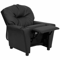 Flash Furniture Contemporary Black Leather Kids Recliner with Cup Holder Model BT-7950-KID-BK-LEA-GG