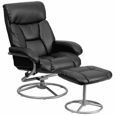 Flash Furniture Contemporary Black Leather Recliner and Ottoman with Metal Base Model BT-70230-BK-CIR-GG