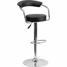 Flash Furniture Contemporary Black Plastic Adjustable Height Bar Stool with Chrome Base, Model CH-TC3-1060-BK-GG