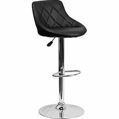 Flash Furniture Contemporary Black Vinyl Bucket Seat Adjustable Height Bar Stool with Chrome Base, Model CH-82028A-BK-GG