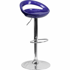 Flash Furniture Contemporary Blue Plastic Adjustable Height Bar Stool with Chrome Base, Model CH-TC3-1062-BL-GG