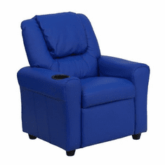 Flash Furniture Contemporary Blue Vinyl Kids Recliner with Cup Holder and Headrest Model DG-ULT-KID-BLUE-GG