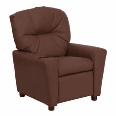 Flash Furniture Contemporary Brown Leather Kids Recliner with Cup Holder Model BT-7950-KID-BRN-LEA-GG