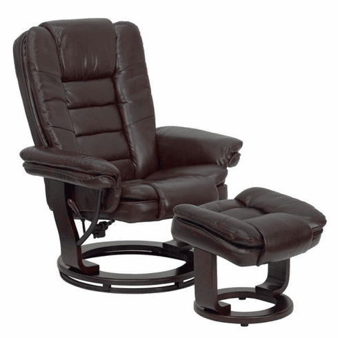 Flash Furniture Contemporary Brown Leather Recliner and Ottoman with Swiveling Mahogany Wood Base, Model BT-7818-BN-GG