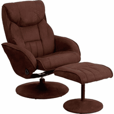 Flash Furniture Contemporary Brown Microfiber Recliner and Ottoman with Circular Microfiber Wrapped Base, Model BT-7895-MIC-PINPOINT-GG