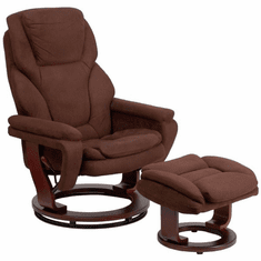 Flash Furniture Contemporary Brown Microfiber Recliner and Ottoman with Swiveling Mahogany Wood Base Model BT-70222-MIC-FLAIR-GG