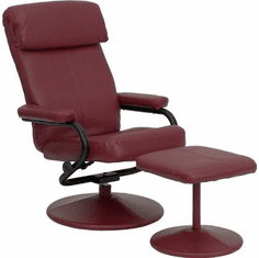 Flash Furniture Contemporary Burgundy Leather Recliner and Ottoman with Leather Wrapped Base, Model BT-7863-BURG-GG