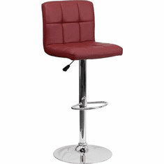 Flash Furniture Contemporary Burgundy Vinyl Adjustable Height Bar Stool with Arms and Chrome Base Model DS-810-MOD-BURG-GG
