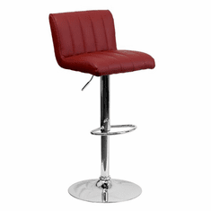 Flash Furniture Contemporary Burgundy Vinyl Adjustable Height Bar Stool with Chrome Base, Model CH-112010-BURG-GG