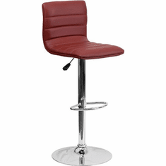 Flash Furniture Contemporary Burgundy Vinyl Adjustable Height Bar Stool with Chrome Base, Model CH-92023-1-BURG-GG
