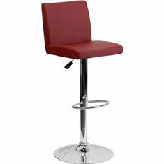 Flash Furniture Contemporary Burgundy Vinyl Adjustable Height Bar Stool with Chrome Base, Model CH-92066-BURG-GG