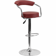Flash Furniture Contemporary Burgundy Vinyl Adjustable Height Bar Stool with Chrome Base, Model CH-TC3-1060-BURG-GG