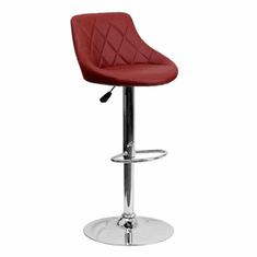 Flash Furniture Contemporary Burgundy Vinyl Bucket Seat Adjustable Height Bar Stool with Chrome Base, Model CH-82028A-BURG-GG