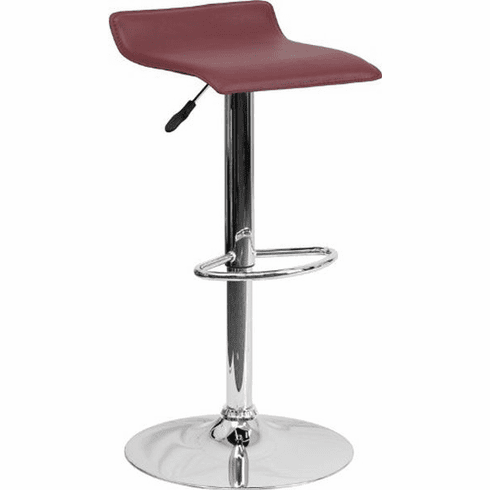 Flash Furniture Contemporary Burgundy Vinyl Bucket Seat Adjustable Height Bar Stool with Chrome Base, Model DS-801-CONT-BURG-GG