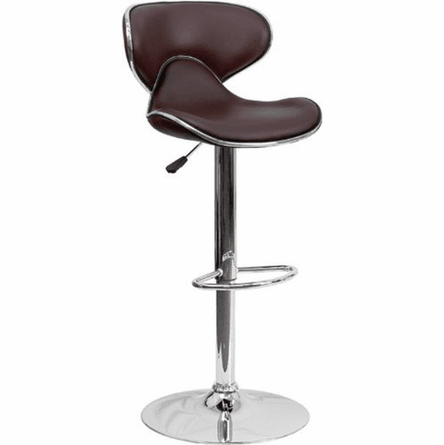 Flash Furniture Contemporary Cozy Mid-Back Burgundy Vinyl Adjustable Height Bar Stool with Chrome Base Model DS-815-BRN-GG