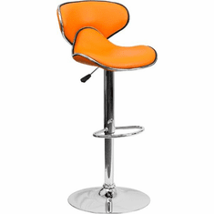 Flash Furniture Contemporary Cozy Mid-Back Purple Vinyl Adjustable Height Bar Stool with Chrome Base Model DS-815-ORG-GG