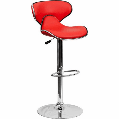 Flash Furniture Contemporary Cozy Mid-Back White Vinyl Adjustable Height Bar Stool with Chrome Base Model DS-815-RED-GG