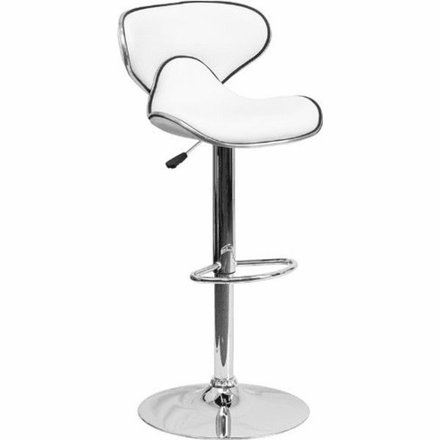 Flash Furniture Contemporary Cozy Mid-Back Yellow Vinyl Adjustable Height Bar Stool with Chrome Base Model DS-815-WH-GG
