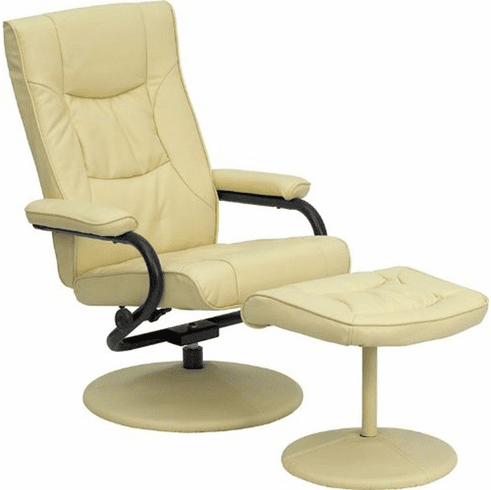 Flash Furniture Contemporary Cream Leather Recliner and Ottoman with Leather Wrapped Base, Model BT-7862-CREAM-GG