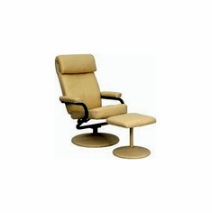 Flash Furniture Contemporary Cream Leather Recliner and Ottoman with Leather Wrapped Base, Model BT-7863-CREAM-GG