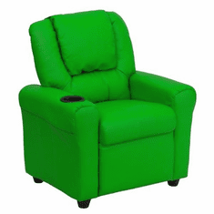 Flash Furniture Contemporary Green Vinyl Kids Recliner with Cup Holder and Headrest Model DG-ULT-KID-GRN-GG