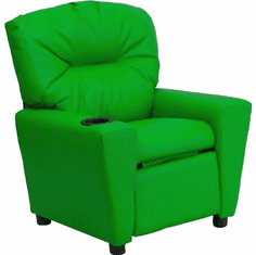 Flash Furniture Contemporary Green Vinyl Kids Recliner with Cup Holder Model BT-7950-KID-GRN-GG