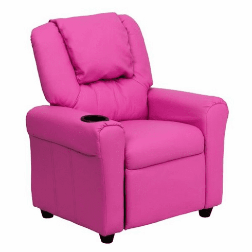 Flash Furniture Contemporary Hot Pink Vinyl Kids Recliner with Cup Holder and Headrest Model DG-ULT-KID-HOT-PINK-GG