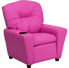 Flash Furniture Contemporary Hot Pink Vinyl Kids Recliner with Cup Holder Model BT-7950-KID-HOT-PINK-GG