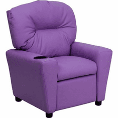 Flash Furniture Contemporary Lavender Vinyl Kids Recliner with Cup Holder Model BT-7950-KID-LAV-GG