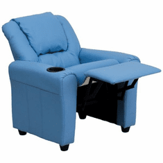 Flash Furniture Contemporary Light Blue Vinyl Kids Recliner with Cup Holder and Headrest Model DG-ULT-KID-LTBLUE-GG